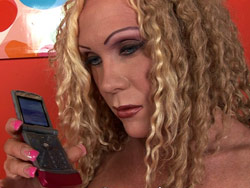 Blonde Curly Shemale Having Phonesex