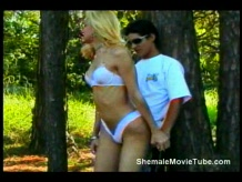 Blonde shemale gets fucked