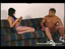 Brunette shemale gets fucked