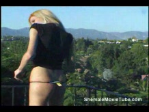 Blonde shemale masturbating