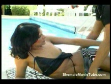 Poolside shemale fucks male