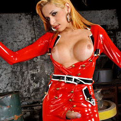 Sexy blonde T-Girl in latex